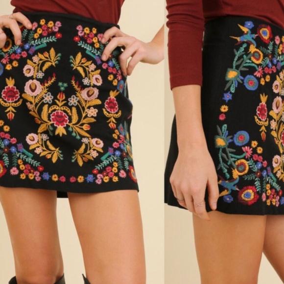 8324078dd0ab Umgee Skirts   New Floral Embroidered Mini Skirt Black   Poshmark